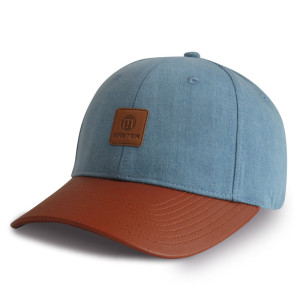 Custom Denim Fabric Baseball Cap with leather patch