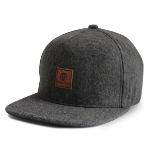 Custom Denim Fabric Snapback Cap with leather patch