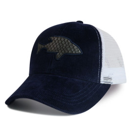6-panel mesh baseball cap and trucker cap with applique embroidery logo