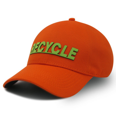 Recycle,One-panel Stretch-fit Cap with PU applique logo