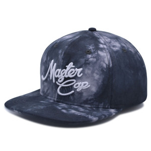 Tie-dyed fabrics 6 panel snapback cap with 3D embroidery logo