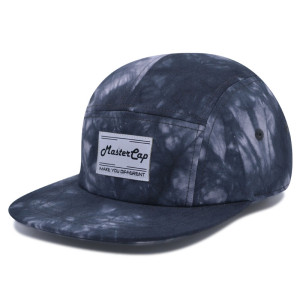 Tie-dyed fabrics camper cap with woven label