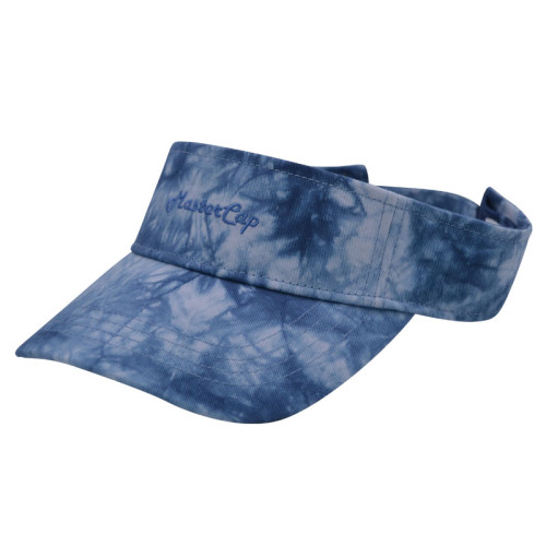 Tie-dyed fabrics visor with embroidery logo