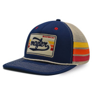 Snapbacker cap with applique embroidery logo and ribbon