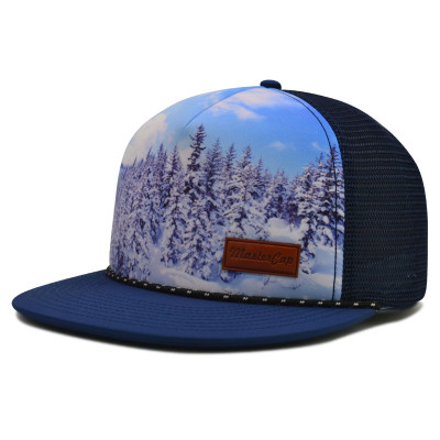 5 panel snapback cap with printing and PU embossed badge
