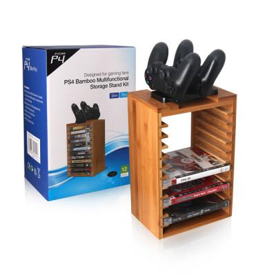 PS4 Slim Bamboo Multifunctional Storage Stand Kit