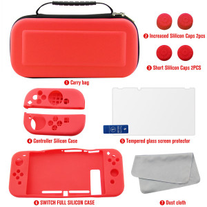 Nintendo Switch Cover Case Accessories 7 Kits (Red)