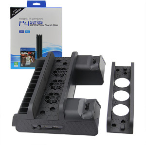 Multi-Function Charging Stand with Built-in Cooling Fans and USB HUB for PS4 Slim - Black