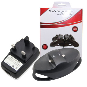 UK Type Dual Charge Station Charging Power Dock for PS4 Wireless Controller - Black
