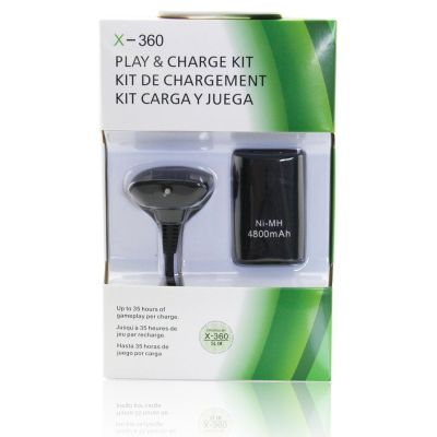 Xbox 360 Slim Controller 4800mAh Rechargeable Battery Pack (Black)