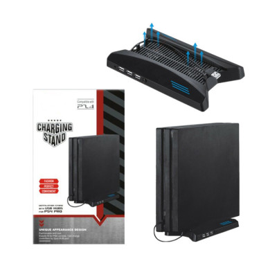 Multi-functional Vertical Stand Cooling Fan For PS4 Pro Console With Dual Chargers USB HUB