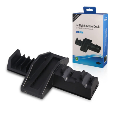 Multifunction Cooling Stand Dock and Disc Holder  For PS4 / PS4 PRO