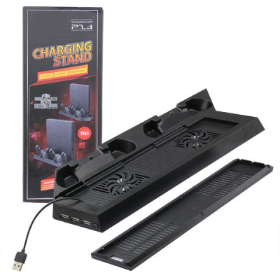 2 in 1 Charging Stand with Cooling fan for PS4/PS4 Slim