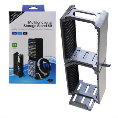 Multifunctional Disk Storage stand with Controller Charging Dock for PS4 and VR Giasses