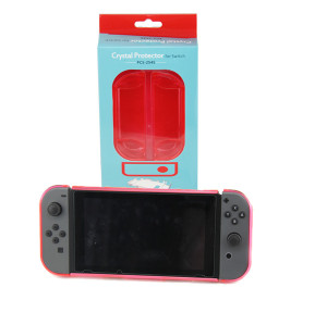 3in1 Transparent Crystal Protecting Cover Case for Nintendo Switch Gamepad - Clear Red