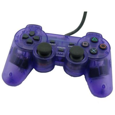 PS2 Dual Shock Controller(Transparent Purple)