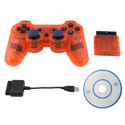 PS2/PS3/PC 3 in 1 Wireless Controller-Crystal Orange