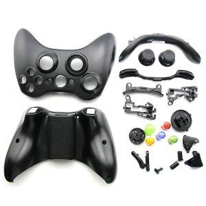 Xbox 360 Fat Wireless Controller Full Shell Housing Case (Black)