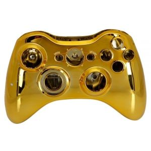 Xbox 360 Fat Wireless Controller Camouflage Full Shell Cover Case (Plating Gold)