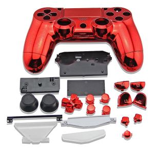 PS4 Controller Electroplate Housing Full Shell Case (Red)