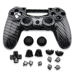 PS4 Wireless Controller Hydro Dipped Shell Mod Kit (Black Carbon)