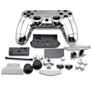 PS4 Controller Electroplate Housing Full Shell Case (Silver)