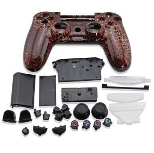 PS4 Wireless Controller Leopard Print Desgin Shell Mod Kit (Black+Brown)