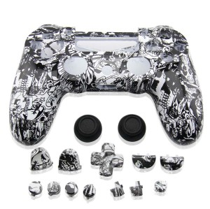 PS4 Wireless Controller Skull Design Shell Mod Kit (Black and White Ghost)
