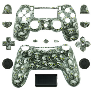 PS4 Wireless Controller Hydro Dipped Shell Mod Kit (Green Eye Skull)