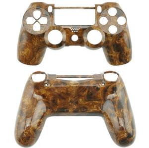 PS4 Controller Hydro Dipped Wood Grain Full Shell  (Dark Color)