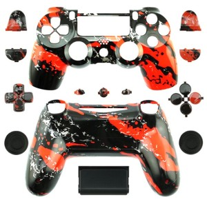 PS4 Wireless Controllers Hydro Dipped Shell Mod Kit (Red Splatter)