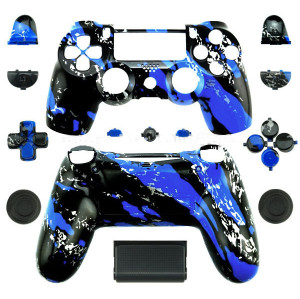 PS4 Wireless Controllers Hydro Dipped Shell Mod Kit (Blue Splatter)