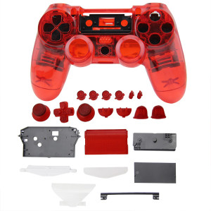 PS4 Wireless Controller Tansparent Housing Shell Mod Kit (Red)