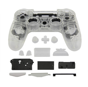 PS4 Wireless Controller Tansparent Housing Shell Mod Kit (White)