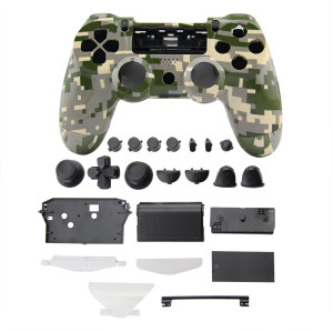 PS4 Wireless Controller Camouflage Housing Shell Mod Kit (Green+Gray)