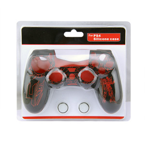 PS4 Controller Silicone Skin Case With Packaging Red+Black