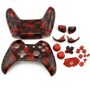 Xbox One Controller Hydro Dipped Housing Shell (Red Skull)