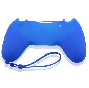 PS4 Controller Silicone Skin Case With Hand Rope Blue