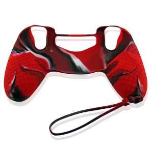 PS4 Colorful Controller Silicone Skin Case With Hand Rope Red