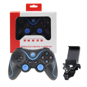 Android Bluetooth Gamepad Controller With Holder (Black+Blue)