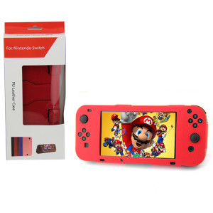 Nintendo Switch Console PU Leather Stand Case Cover (Red Color)