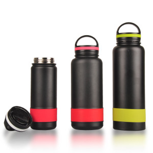Everich D/W S/S Vacuum Insulated Water Bottle with Silicone Band and Semicircular Lid