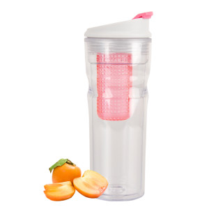 Everich 17421 Double Wall Tritan Tumbler with Flip Lid and Fruit Infuser 16oz