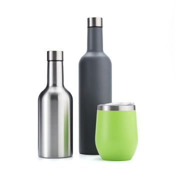 EVERICH 172549 NEW D/W Stainless Steel Vacuum Insulated Wine Bottle 350ml/ 750ml