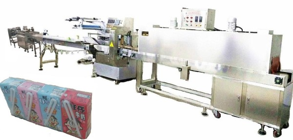 1x4  Tetra Packed Milk Automatic Feeding and Shrink Packing Line