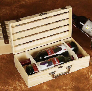 wholesale customized logo and design 2 bottle wooden wine box
