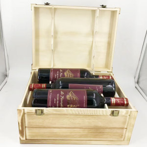 high quality unfinished 6 bottle wooden wine box