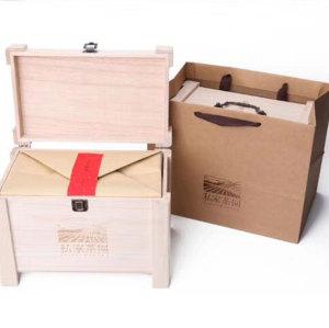unfinished wooden tea set storage box