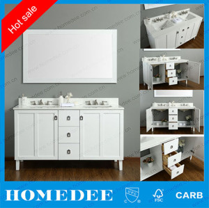 Floor Standing Double Sinks Wooden Bathroom Cabinet