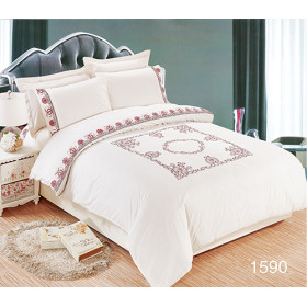 Wholesale full size luxury embroidery bedding 100% cotton duvet cover set